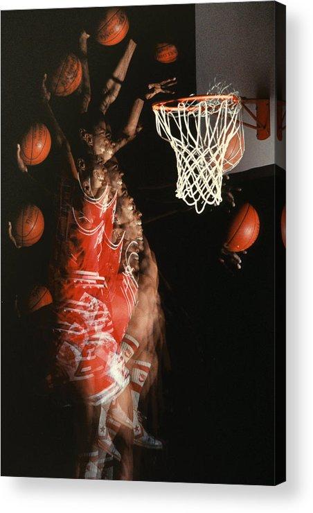 Sport; Sports; Basketball; Player; Effort; Ball; Basket; Dunk; Jump; Jumping; Skill; Game; Games; Basket Ball; Hoop; Round Ball; Net; Swish; Man; Boy; Black; African American; African-american Acrylic Print featuring the photograph Net Fever by Gerard Fritz