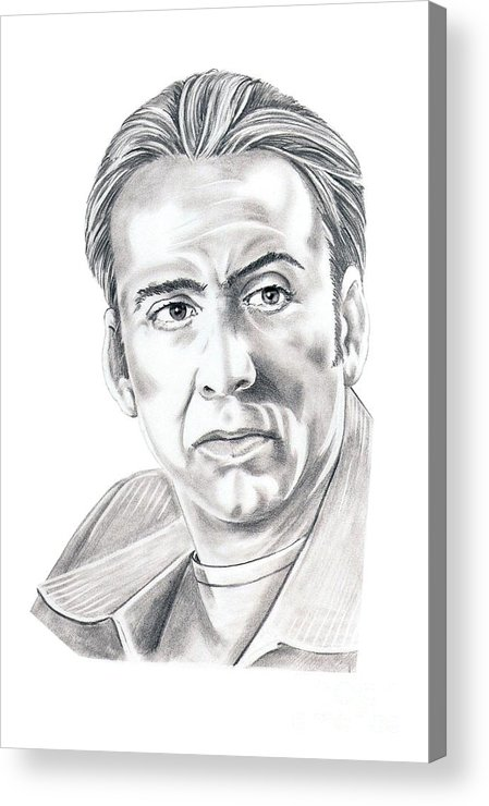 Pencil Acrylic Print featuring the drawing Nicolas Cage by Murphy Elliott