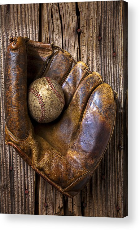 Old Acrylic Print featuring the photograph Old Baseball Mitt And Ball by Garry Gay
