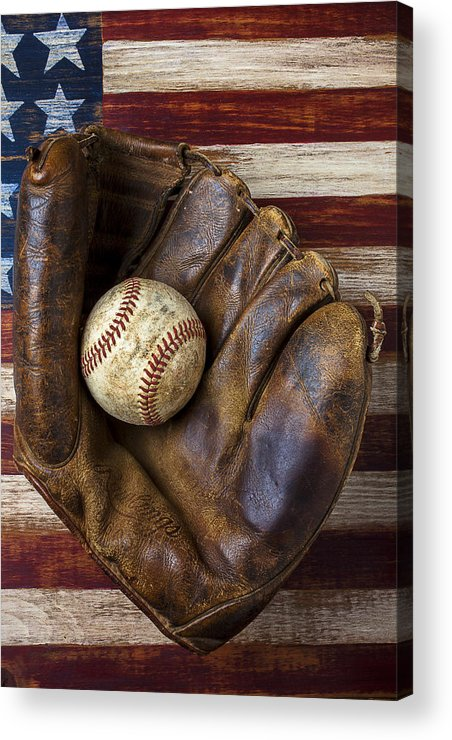 Old Mitt Acrylic Print featuring the photograph Old Mitt And Baseball by Garry Gay