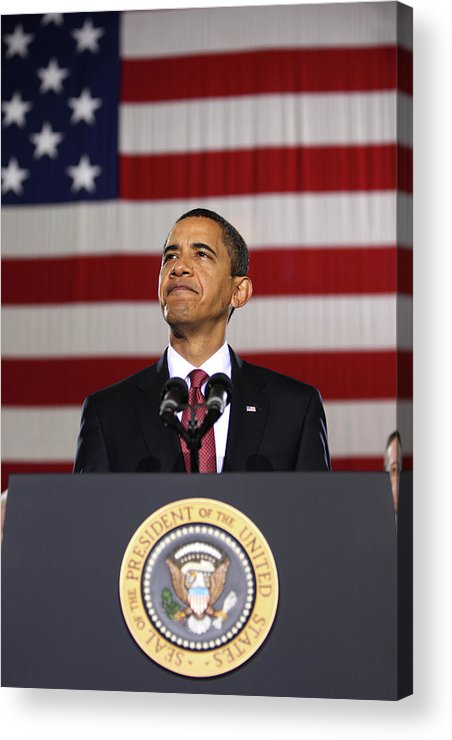 Obama Acrylic Print featuring the photograph President Obama by War Is Hell Store