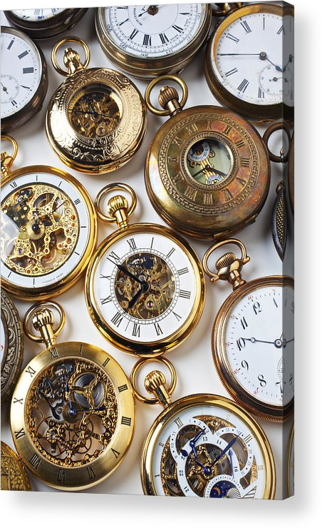 Time Acrylic Print featuring the photograph Rows Of Pocket Watches by Garry Gay