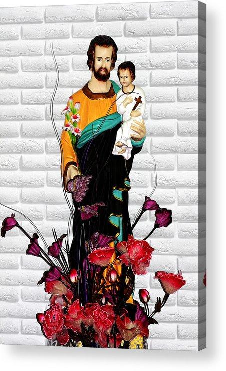 Saint Acrylic Print featuring the photograph St Joseph Holding Baby Jesus - Catholic Church Qibao China by Christine Till