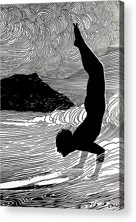 1930 Acrylic Print featuring the painting Surfer And Waikiki by Hawaiian Legacy Archive - Printscapes