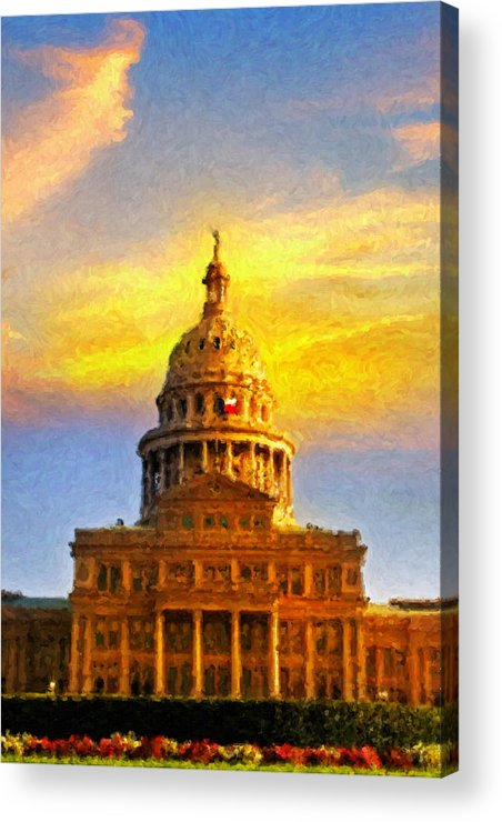 Dallas Acrylic Print featuring the painting Texas Capitol At Sunset Austin by Jeff Steed
