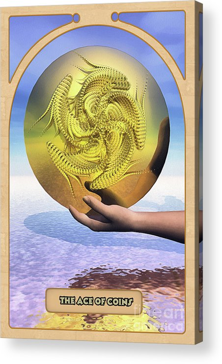Magic Acrylic Print featuring the digital art The Ace Of Coins by John Edwards