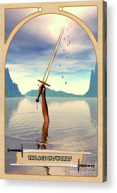 Magic Acrylic Print featuring the digital art The Ace Of Swords by John Edwards