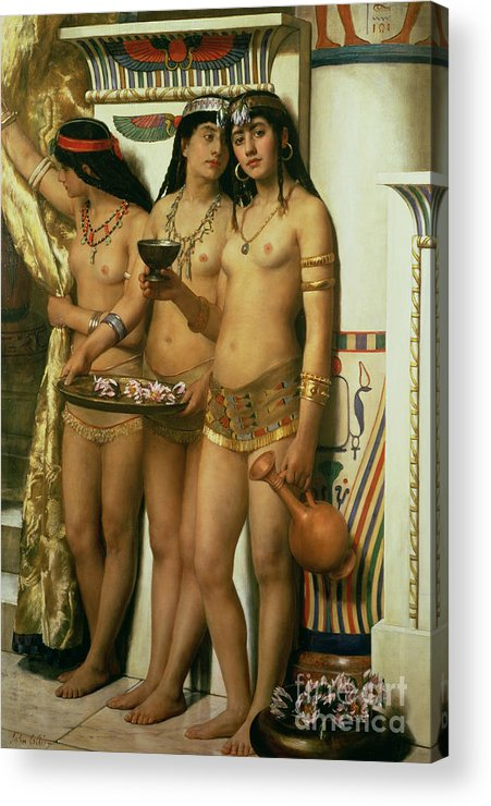 Royalty Acrylic Print featuring the painting The Handmaidens Of Pharaoh by John Collier