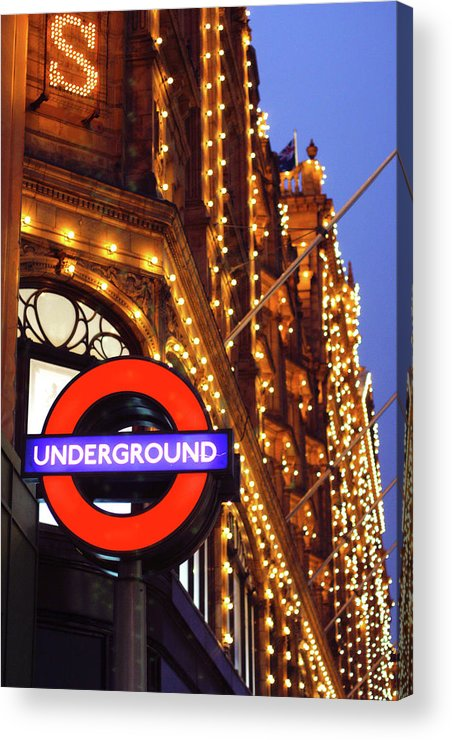 Harrods Acrylic Print featuring the photograph The Underground And Harrods At Night by Heidi Hermes