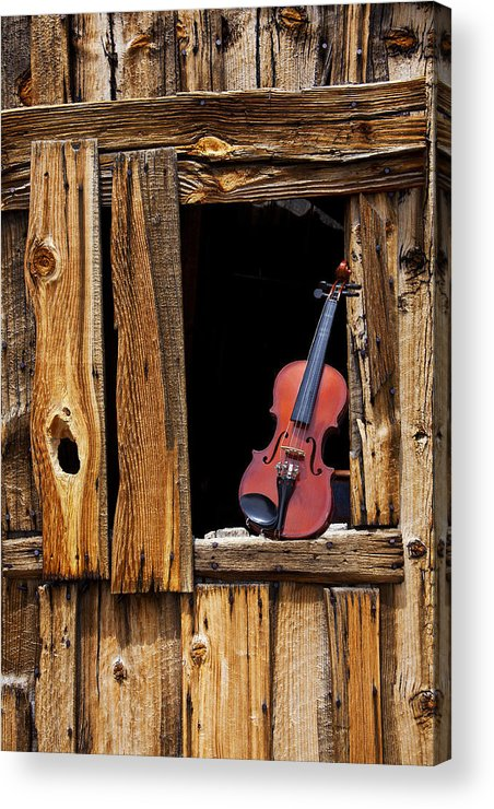 Viola Acrylic Print featuring the photograph Violin In Window by Garry Gay