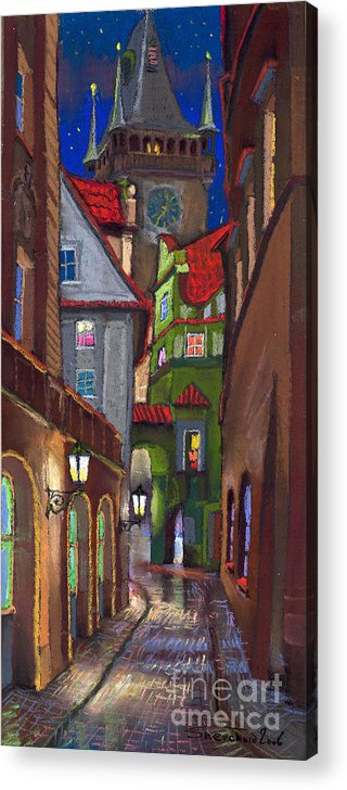 Pastel Acrylic Print featuring the painting Prague Old Street by Yuriy Shevchuk