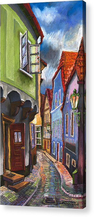 Pastel Chesky Krumlov Old Street Architectur Acrylic Print featuring the painting Cesky Krumlov Old Street 1 by Yuriy Shevchuk