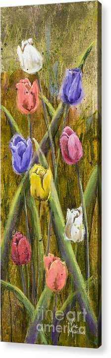 Tulip Acrylic Print featuring the painting Splashy Tulips by Vic Mastis