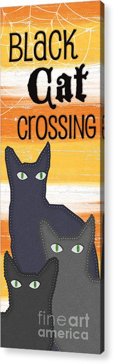 Cat Acrylic Print featuring the painting Black Cat Crossing by Linda Woods