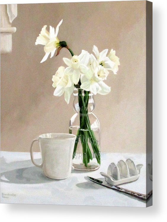 Daffodils Acrylic Print featuring the painting A Pint Of Daffodils by Sandra Chase
