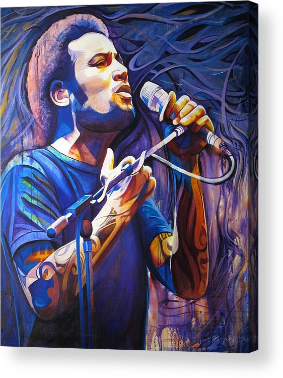 Ben Harper Acrylic Print featuring the painting Ben Harper And Mic by Joshua Morton