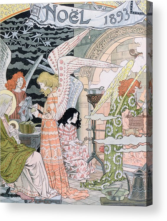 Angels Acrylic Print featuring the painting The Angels Kitchen by Eugene Grasset