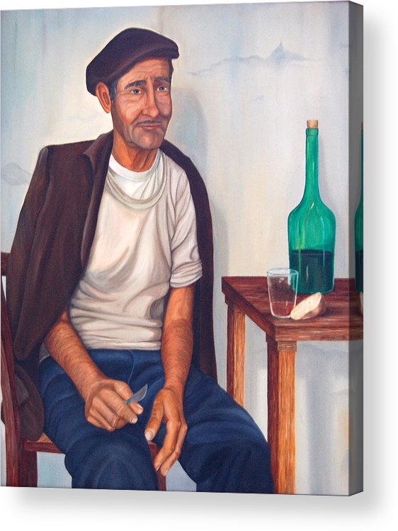 Portrait Acrylic Print featuring the painting Antonio by AnnaJo Vahle