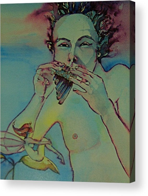 Pan Fairies Fairy Fife Flute Boy Acrylic Print featuring the drawing Pan by Jackie Rock