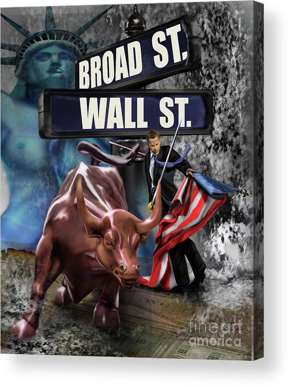 Wall Street Acrylic Print featuring the painting Ole Obama - Ole - Ole - Ole by Reggie Duffie