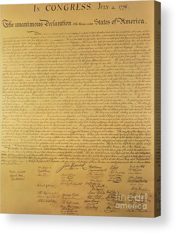 Declaration Of Independence Of The 13 United States Of America Of 1776 Acrylic Print featuring the painting The Declaration Of Independence by Founding Fathers