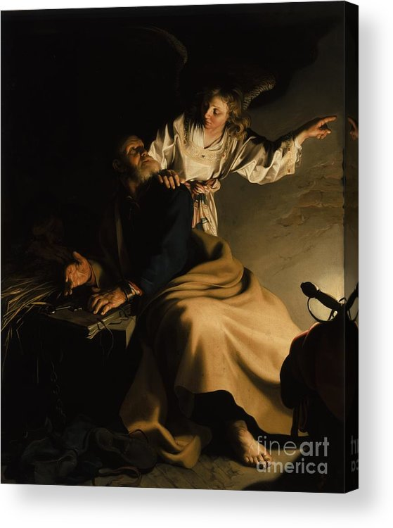 The Liberation Of St. Peter Acrylic Print featuring the painting The Liberation Of Saint Peter by Abraham Bloemaert