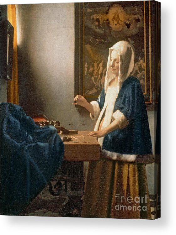 Vermeer Acrylic Print featuring the painting Woman Holding A Balance by Jan Vermeer