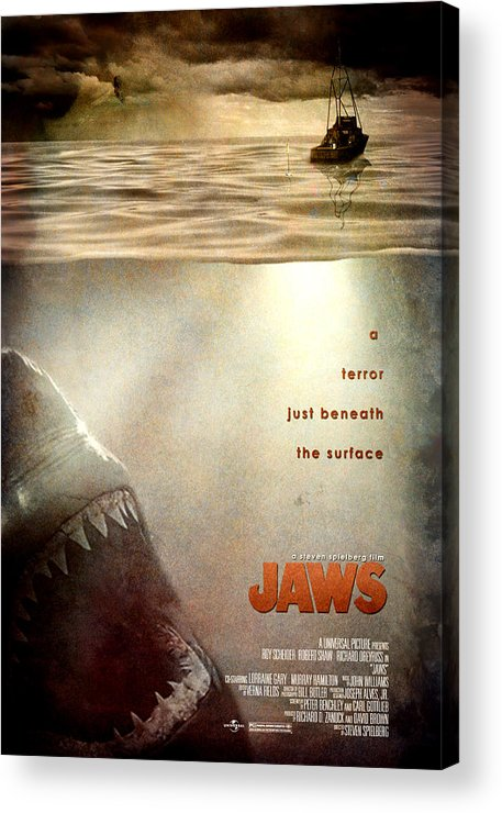 Jaws Acrylic Print featuring the digital art Jaws Custom Poster by Jeff Bell