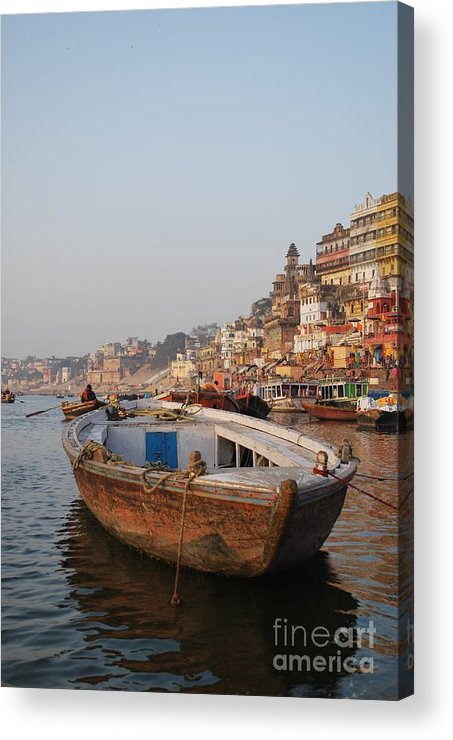 Varanasi Acrylic Print featuring the photograph Alone On The Ganges by Jen Bodendorfer