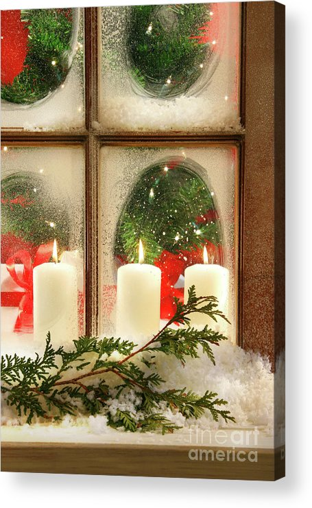 Background Acrylic Print featuring the photograph Frosted Window by Sandra Cunningham