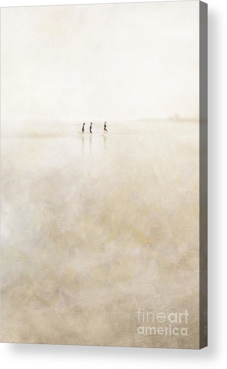 3 Acrylic Print featuring the photograph 3 Girls Running by Paul Grand