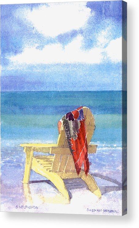 Beach Acrylic Print featuring the painting Beach Chair by Shawn McLoughlin