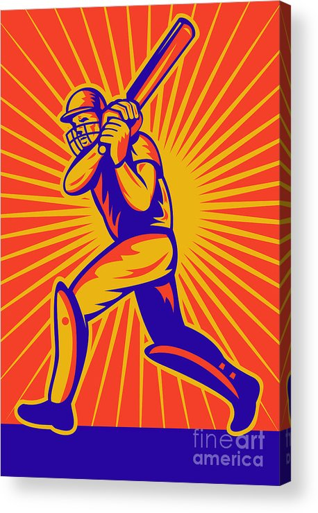 Cricket Acrylic Print featuring the digital art Cricket Sports Batsman Batting by Aloysius Patrimonio