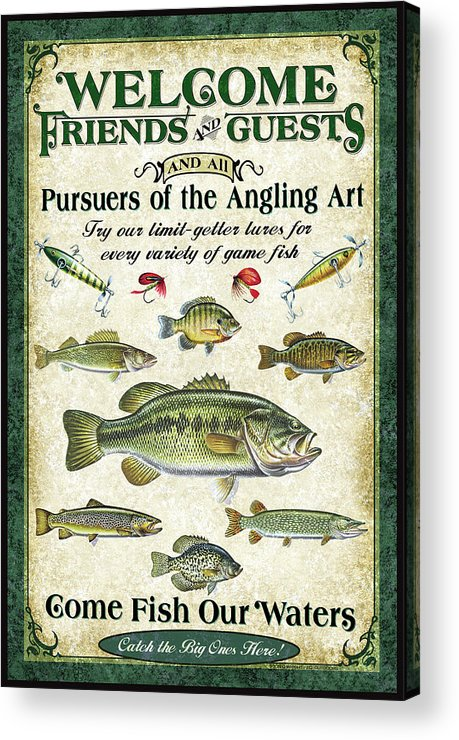 Fish Acrylic Print featuring the painting Welcome Friends Sign by JQ Licensing