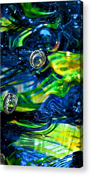 Seattle Seahawks Acrylic Print featuring the photograph Glass Macro - Seahawks Blue And Green -13e4 by David Patterson