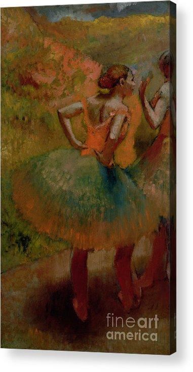 Dancers Wearing Green Skirts Acrylic Print featuring the pastel Dancers Wearing Green Skirts by Edgar Degas
