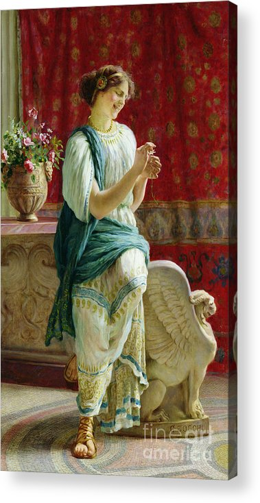 Roman Acrylic Print featuring the painting Roman Girl by Guglielmo Zocchi