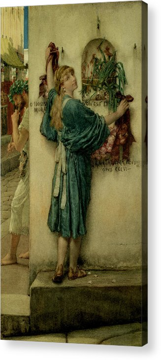 The Acrylic Print featuring the painting The Street Altar by Sir Lawrence Alma-Tadema