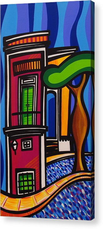 Puerto Rico Acrylic Print featuring the painting The Green Door by Mary Tere Perez