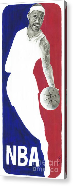 Lebron James Acrylic Print featuring the painting Lebron Nba Logo by Tamir Barkan