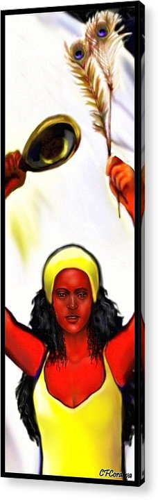 Oshun Acrylic Print featuring the digital art Ochun -the Goddess Of Love And Beauty by Carmen Cordova