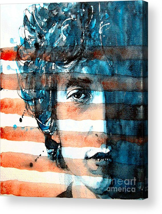 Bob Dylan Acrylic Print featuring the painting An American Icon by Paul Lovering