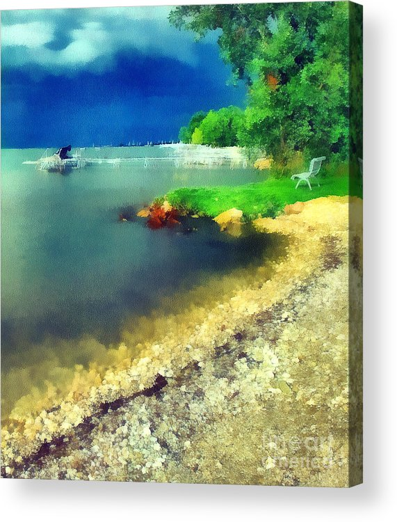 Odon Acrylic Print featuring the painting Balaton Lake Shore by Odon Czintos