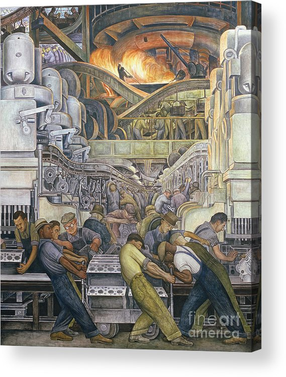 Machinery Acrylic Print featuring the painting Detroit Industry North Wall by Diego Rivera