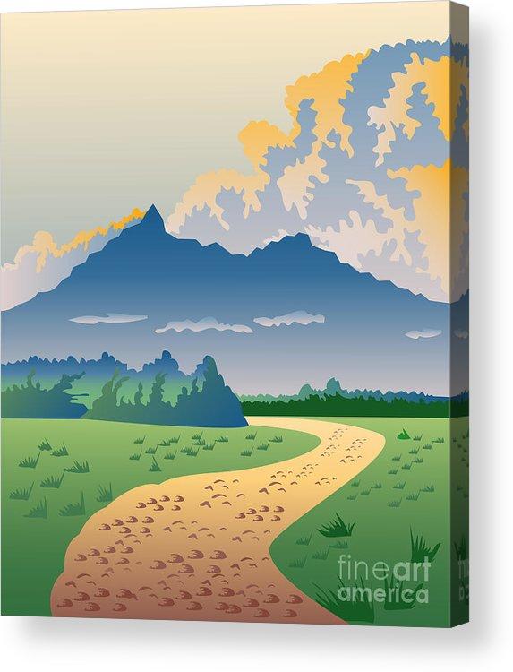 Illustration Acrylic Print featuring the digital art Road Leading To Mountains by Aloysius Patrimonio