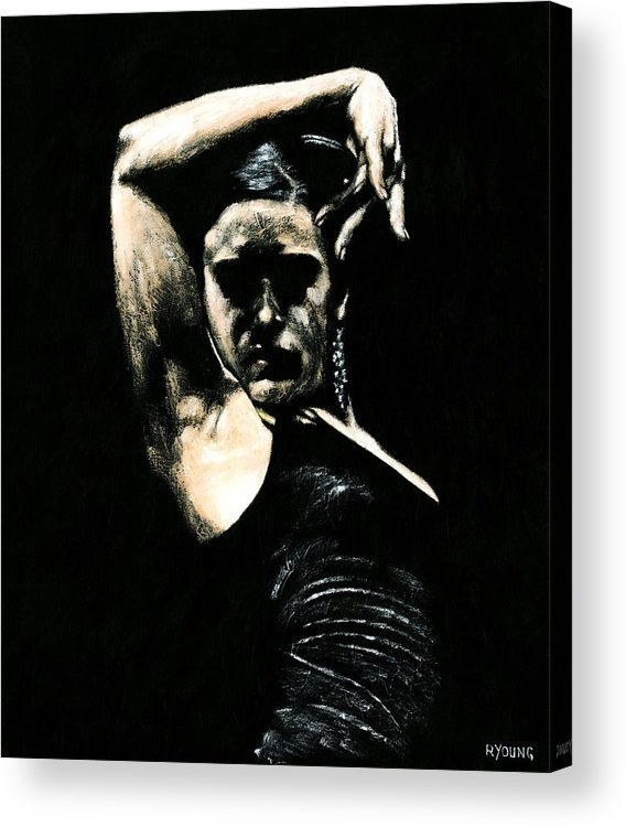 Fanny Ara Acrylic Print featuring the painting Flamenco Soul by Richard Young