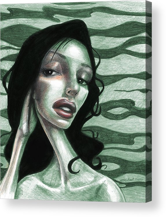 Woman Acrylic Print featuring the drawing Not Thinking About You by Michael Scholl