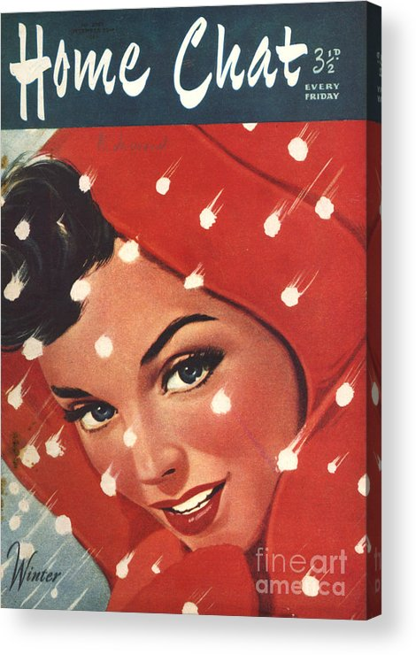 Magazine Cover Acrylic Print featuring the drawing 1950s Uk Home Chat Magazine Cover by The Advertising Archives