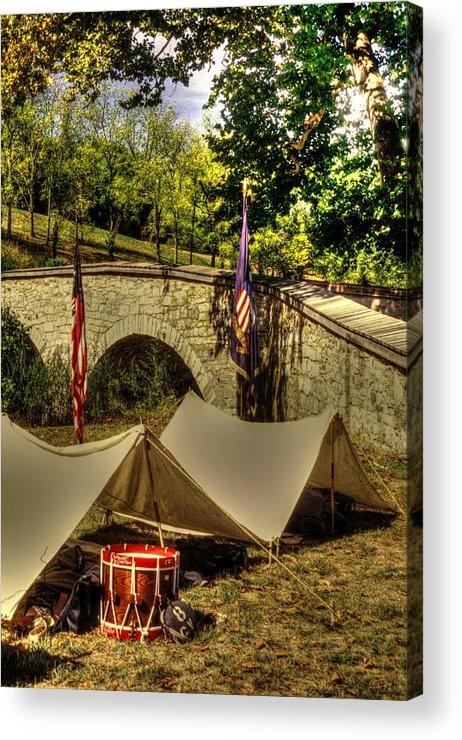 Civil War Acrylic Print featuring the photograph Antietam - 8th Connecticut Volunteer Infantry-a1 Encampment Near The Foot Of Burnsides Bridge by Michael Mazaika