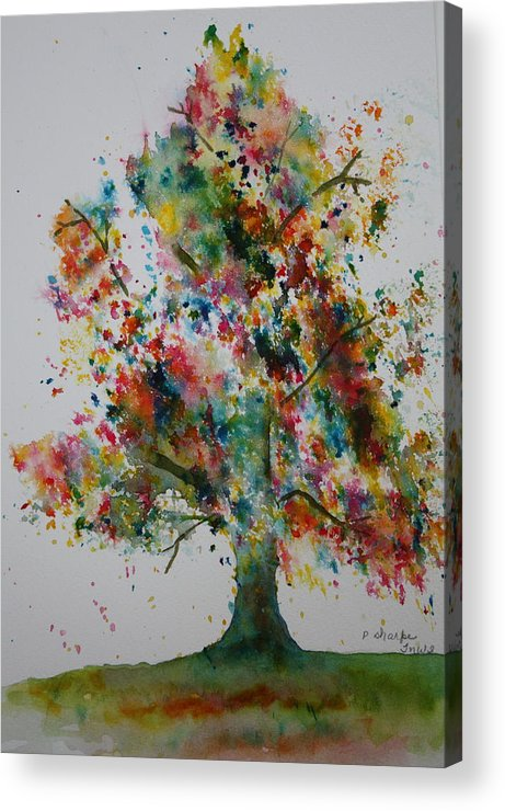 Landscape Acrylic Print featuring the painting Confetti Tree by Patsy Sharpe